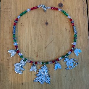 Pewter Christmas necklace